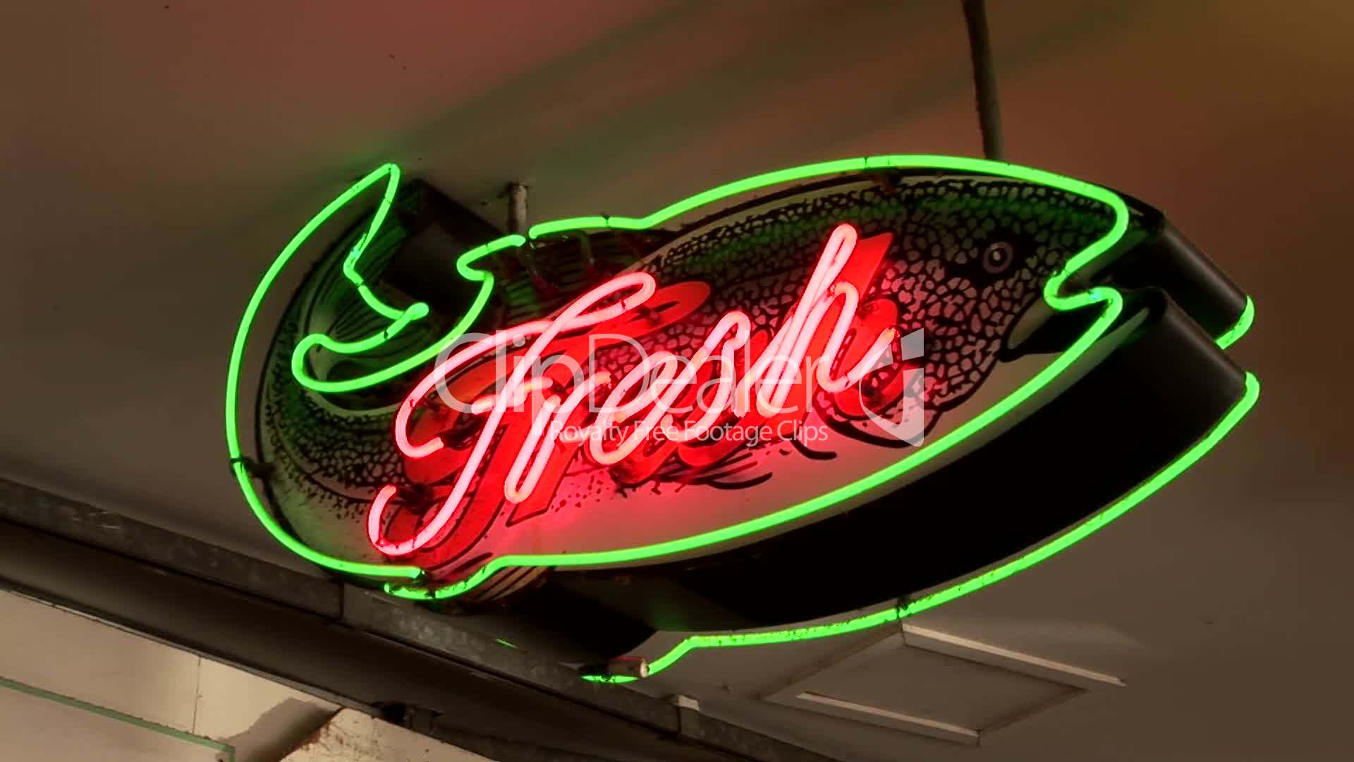 Neon Fresh Fish Sign: Royalty-free video and stock footage - photo#24