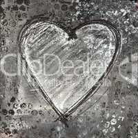 Painted heart gray and black