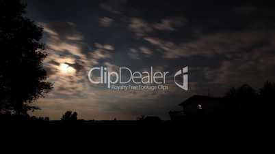 Time Lapse at Dusk, Stars and Moon in a Rural Setting