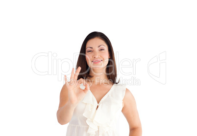 Woman showing Okay sign