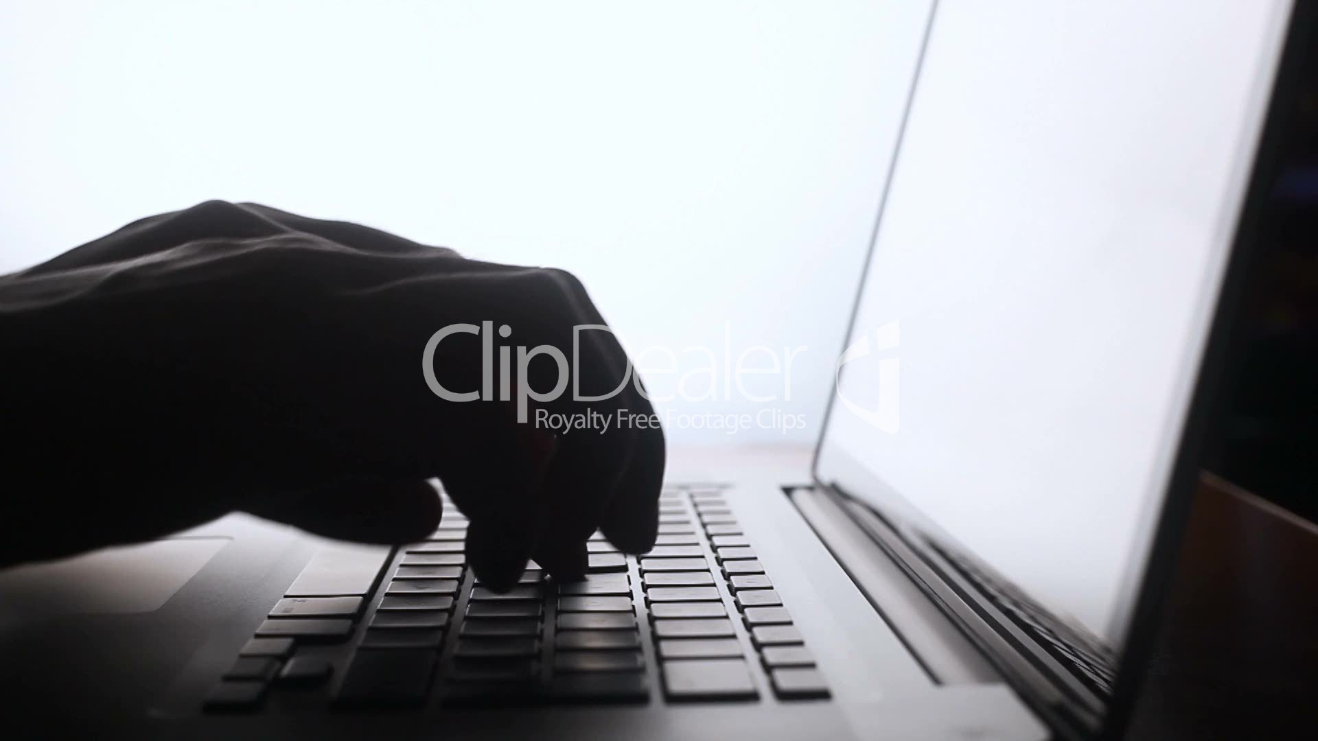 Typing on computer keyboard silhouette: Royalty-free video ...