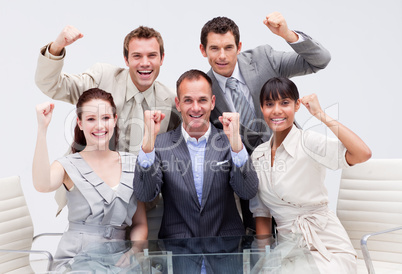 Confident business team being positive