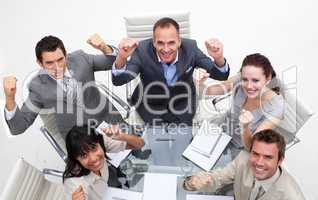 Exuberant business team celebrating a success