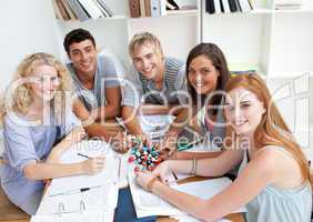 High angle of teenagers studying Science in a library