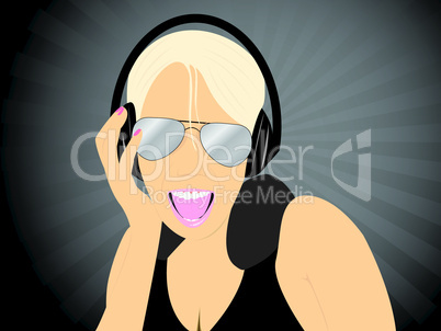 Blonde girl listening music