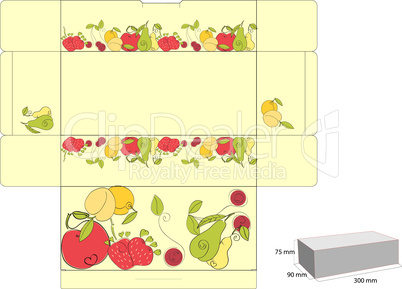 Template for box with fruit