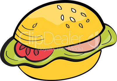 Cartoon hamburger isolated on white background