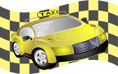 Taxi and flag