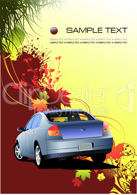 Autumnal leaf background with car image