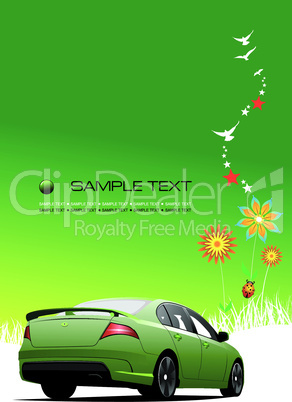 Green summer  background with car image