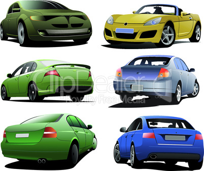 Six cars on the road. Vector illustration