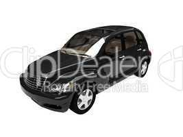 isolated black american car front view 05