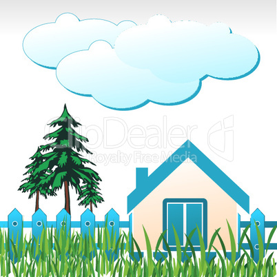 natural home with tree and cloud