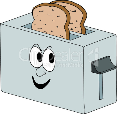 Vector cartoon toaster, part of a series of household appliances