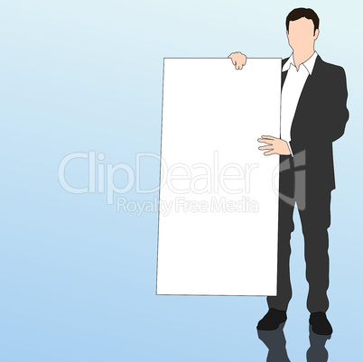 Business man with white board
