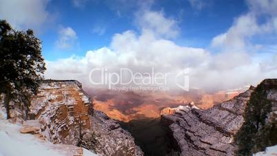 Time-lapse Clouds Over Snow in Grand Canyon