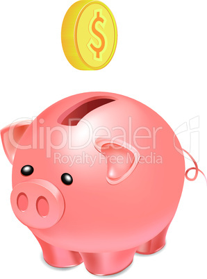 Piggy bank with falling gold coin