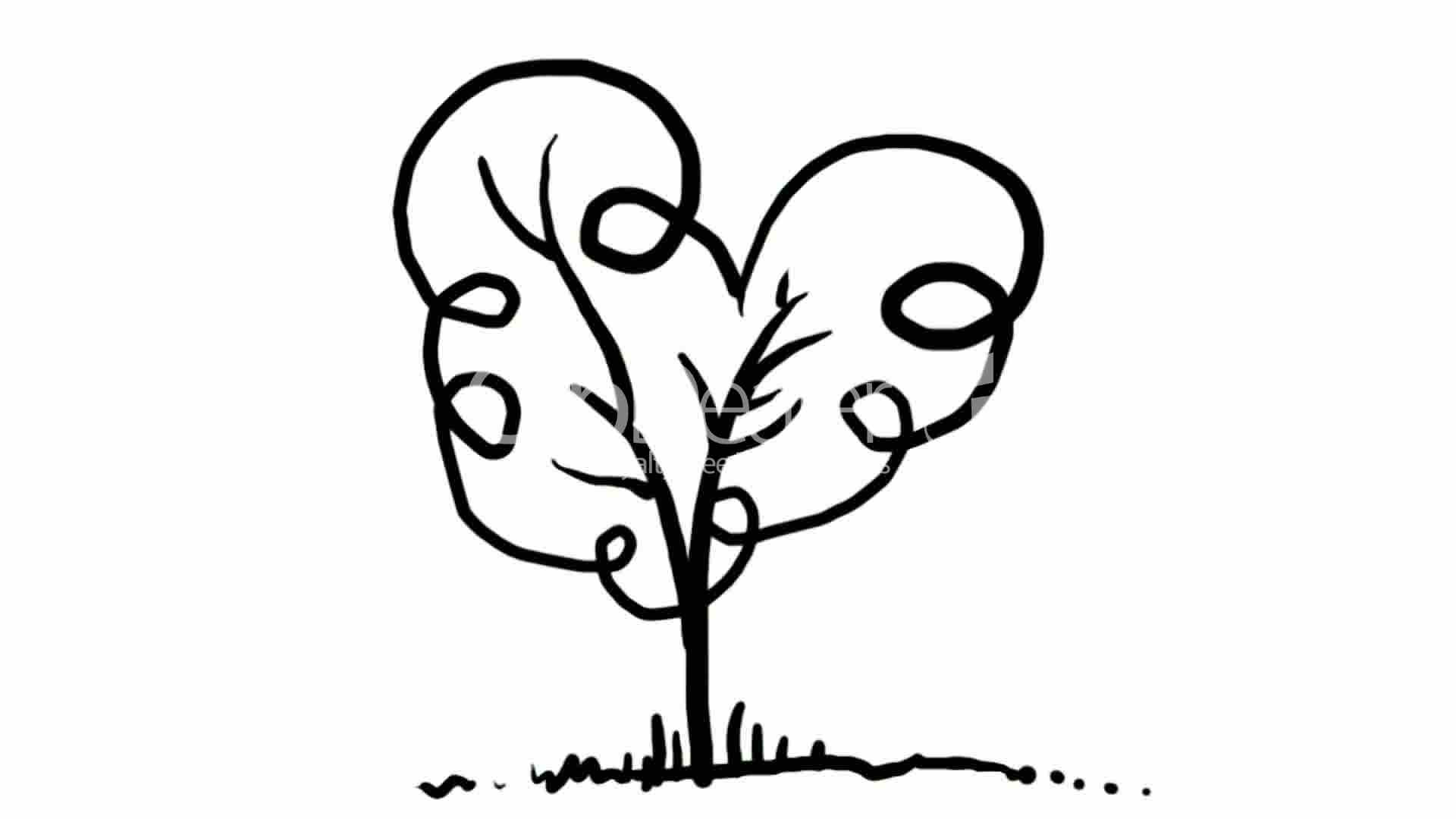 Drawing of tree hand painting video material sketch for Cute tree drawing