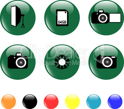 photo icon set objects button