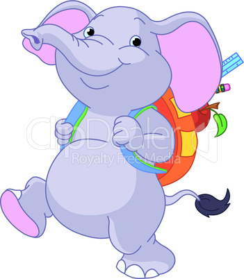 Cute elephant go to school