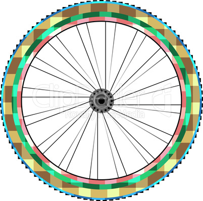 Front wheel of a mountain bike isolated on white vector