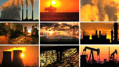Montage of Contrasting Effect of Clean Power Production  & Fossil Fuel Pollution