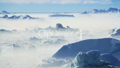Freezing Air Lying Between Ice Floes & Icebergs