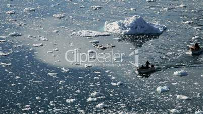 Small Craft Between Ice Floes & Icebergs Arctic Region