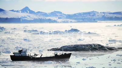 Nautical Vessel Moving in Ice Floes