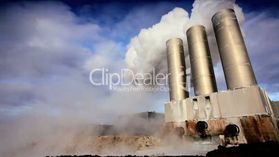 Steam from Geothermal Power Plant Chimneys