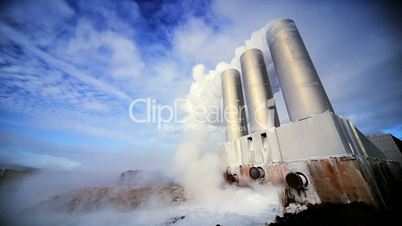 Chimneys & Steam at Geothermal Power Plant