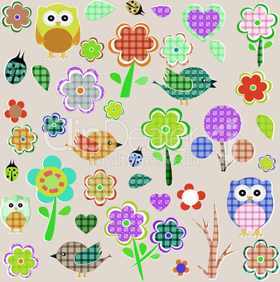Retro spring nature and animal elements. vector background