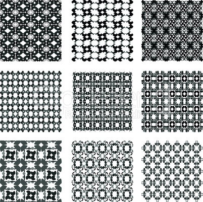 Set of monochrome geometric patterns backgrounds collection