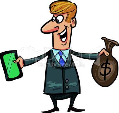 businessman with tablet and money