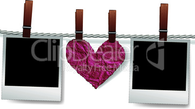 Love message by photo snapshot frames and heart on rope for scrap