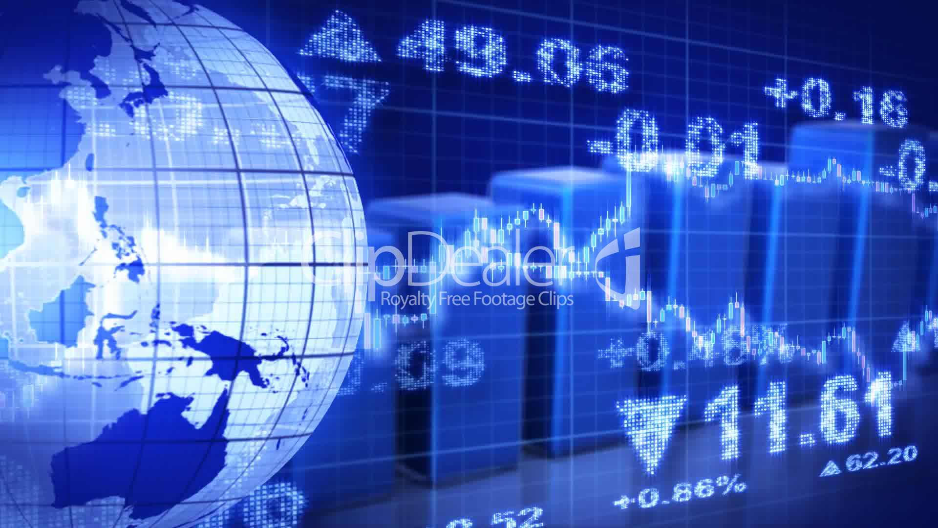 globe and graphs blue stock market loopable background: Royalty-free video and stock footage