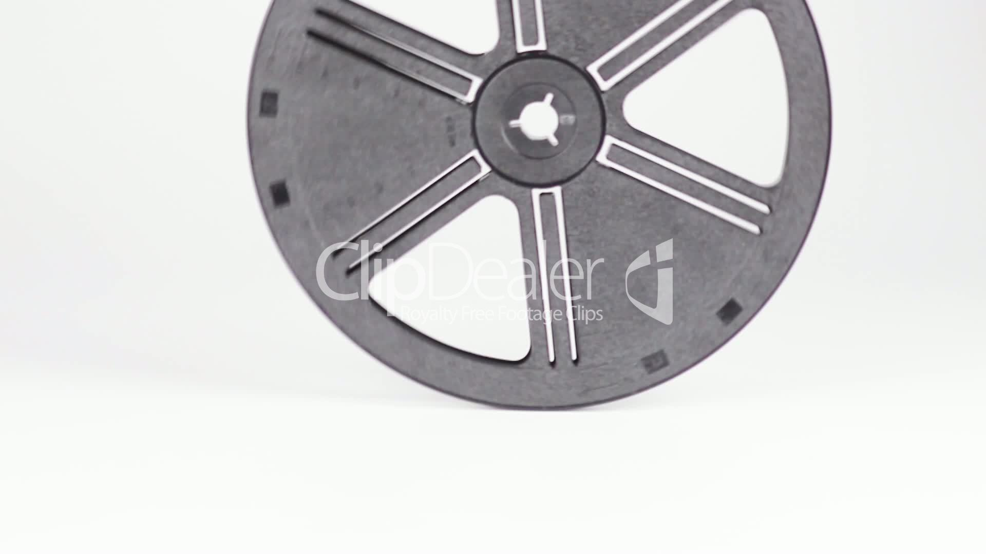 empty movie reel turns and falls royaltyfree video and