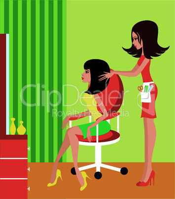 Woman in a beauty salon.
