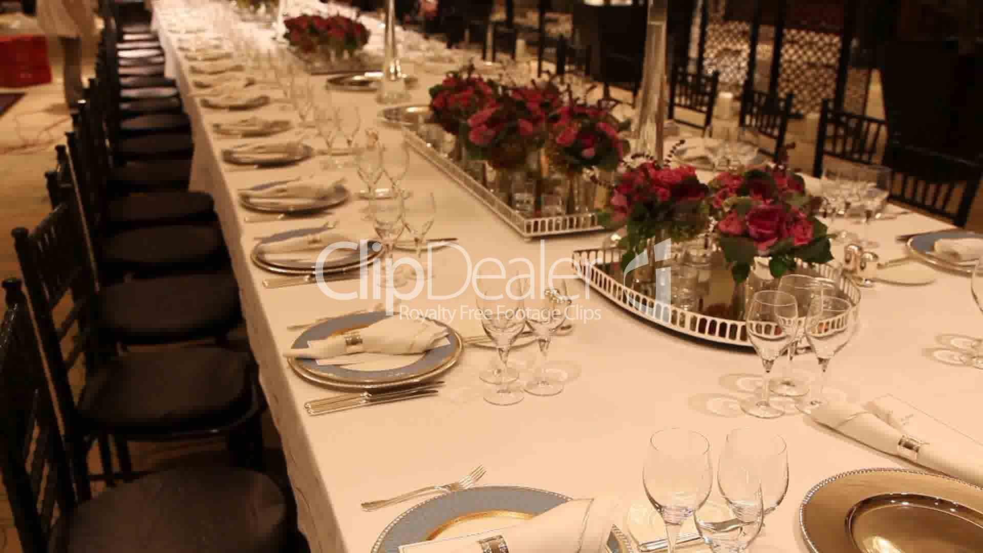 Elegant dinner table setting royalty free video and stock for Fancy dinner table