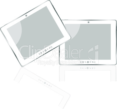 White vector tablet pc with white screen isolated
