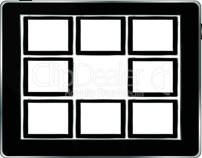 Black vector tablet pc set with white screen. Object isolated of background