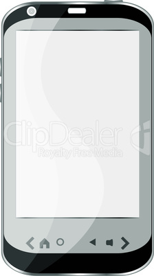 Modern smartphone with white screen isolated on white background