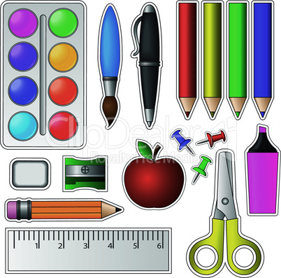 Set of School Tools and Supplies