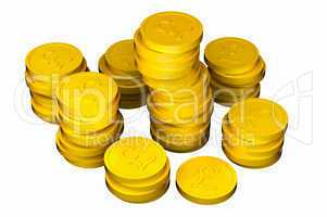 Pile of pound gold coins