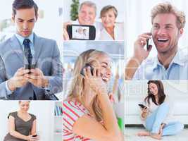 Collage of people using their phone