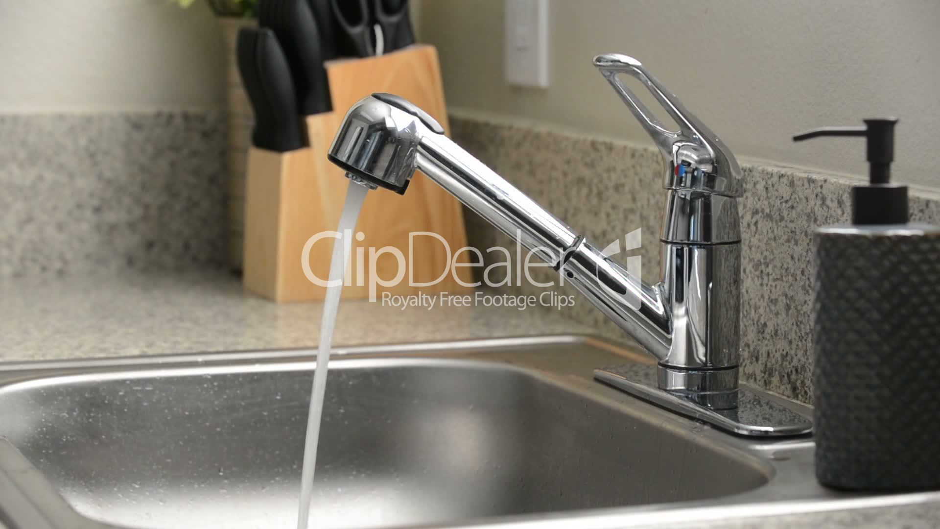 Kitchen Sink Faucet Running Water Royalty Free Video And
