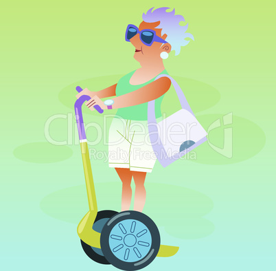 Female pensioner in the vacation goes on electric scooter