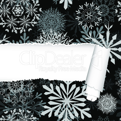 Snowflakes Pattern With Torn  Stripe