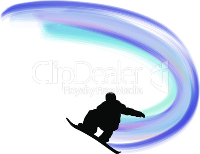 Jumping Snowboarder Silhouette