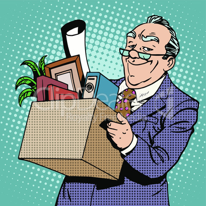 Happy businessman goes from the office to a pension